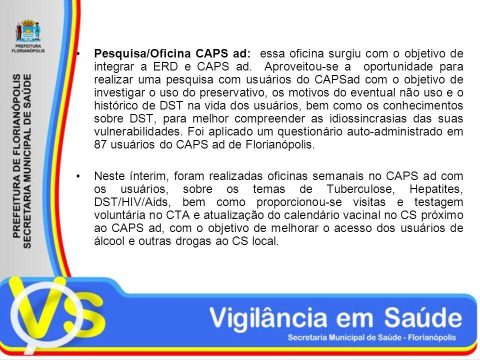 Pesquisa/Oficina CAPS ad: essa oficina surgiu com o objetivo de integrar a ERD e CAPS ad. Aproveitou-se a oportunidade para realizar uma pesquisa com