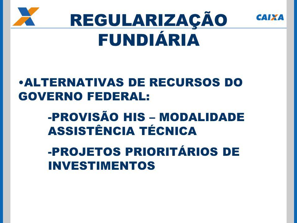 ALTERNATIVAS DE RECURSOS DO GOVERNO FEDERAL: -PROVISÃO HIS – MODALIDADE ASSISTÊNCIA TÉCNICA -PROJETOS PRIORITÁRIOS DE INVESTIMENTOS REGULARIZAÇÃO FUNDIÁRIA