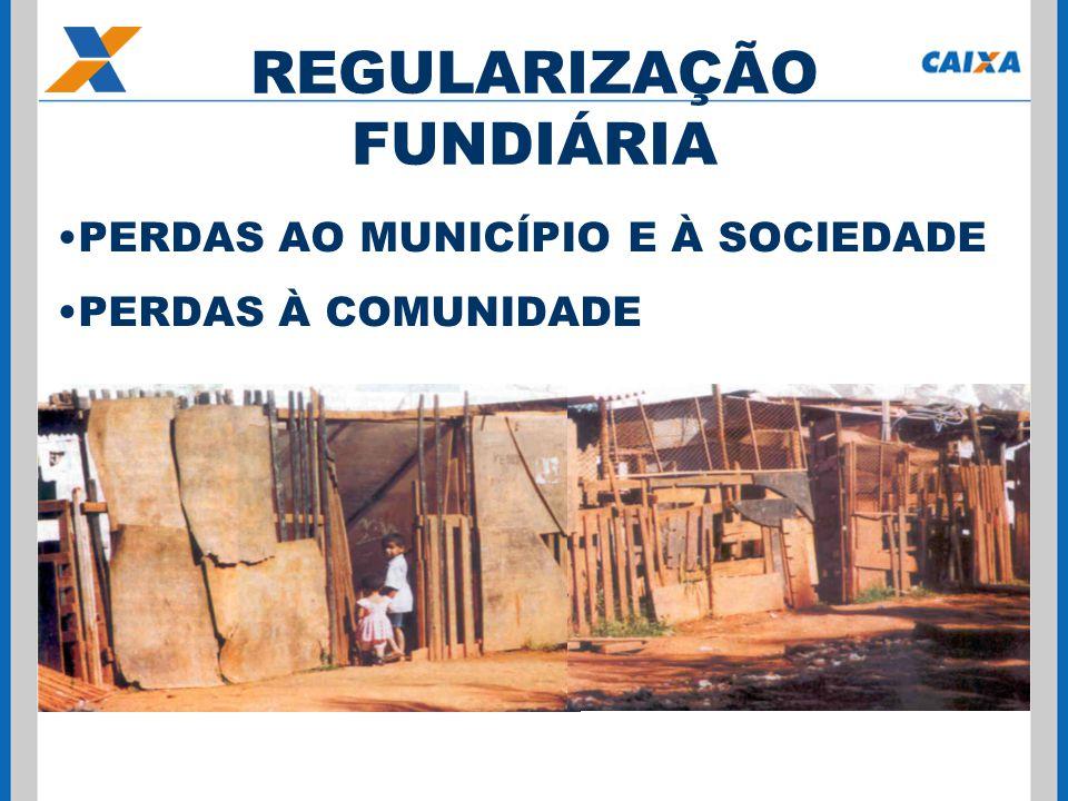 PERDAS AO MUNICÍPIO E À SOCIEDADE PERDAS À COMUNIDADE REGULARIZAÇÃO FUNDIÁRIA