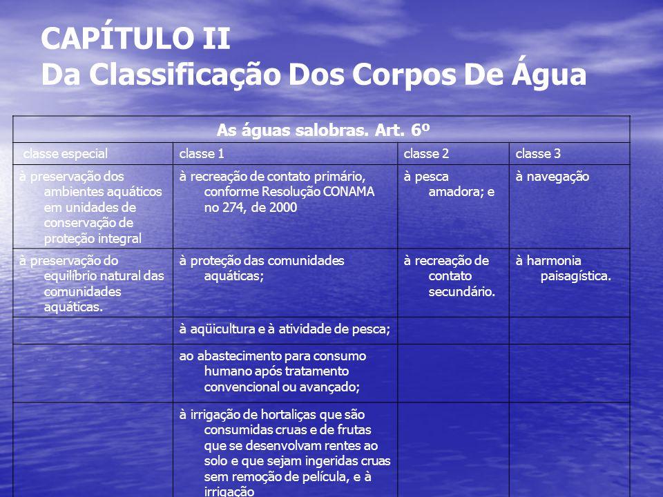 CAPÍTULO II Da Classificação Dos Corpos De Água As águas salobras.