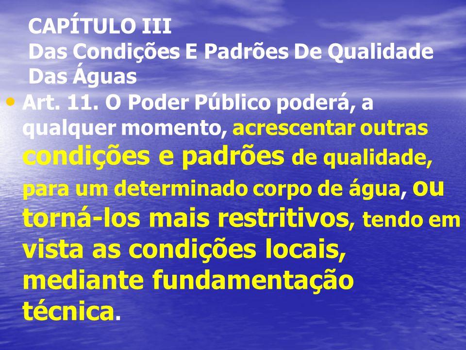 CAPÍTULO III Das Condições E Padrões De Qualidade Das Águas Art.