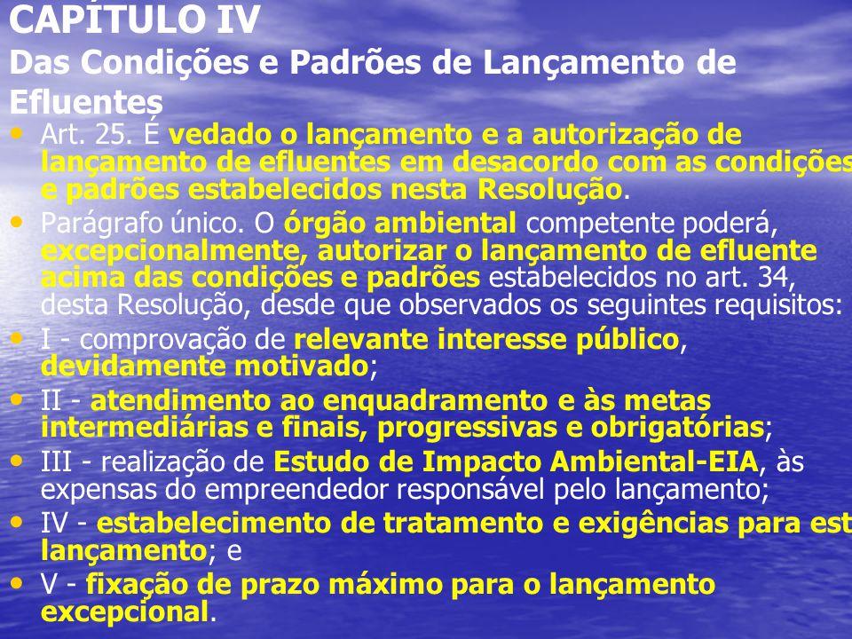CAPÍTULO IV Das Condições e Padrões de Lançamento de Efluentes Art.