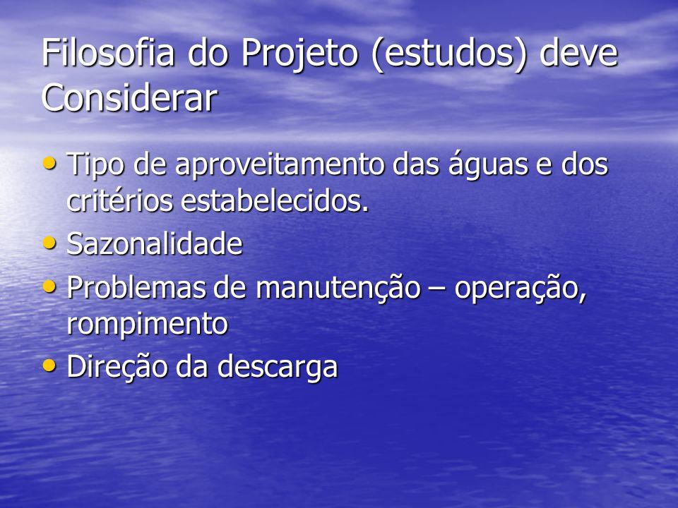 Filosofia do Projeto (estudos) deve Considerar Tipo de aproveitamento das águas e dos critérios estabelecidos.