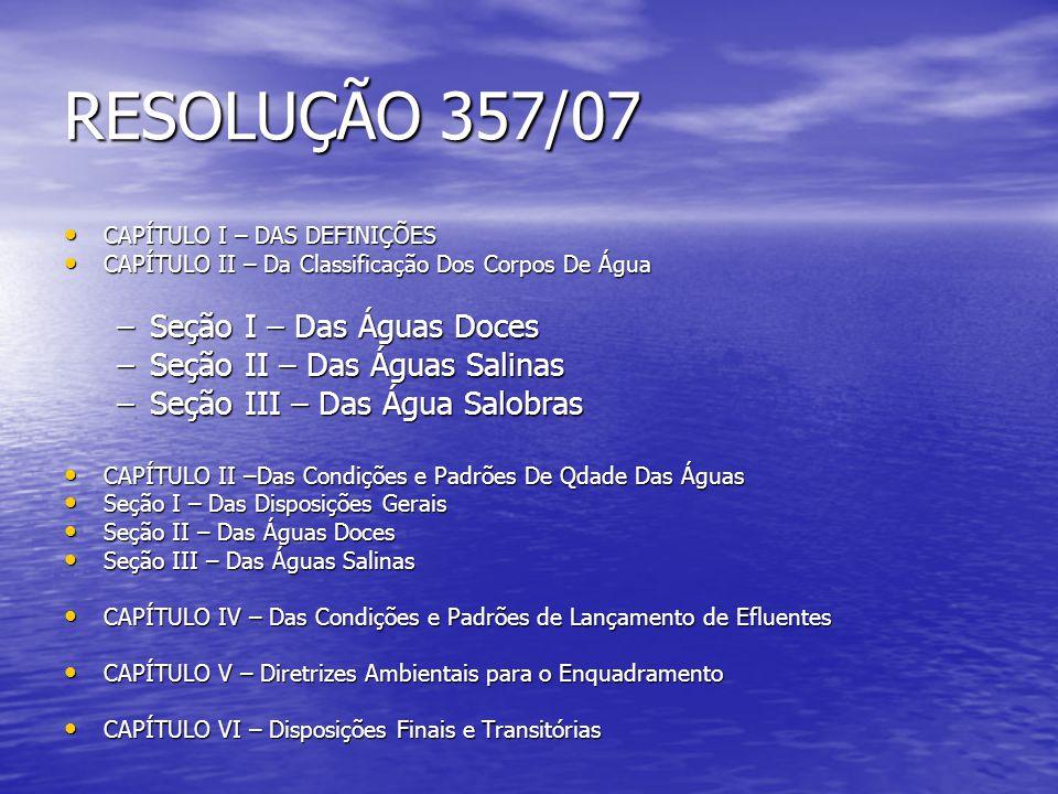 CAPÍTULO I – DAS DEFINIÇÕES CAPÍTULO I – DAS DEFINIÇÕES CAPÍTULO II – Da Classificação Dos Corpos De Água CAPÍTULO II – Da Classificação Dos Corpos De Água –Seção I – Das Águas Doces –Seção II – Das Águas Salinas –Seção III – Das Água Salobras CAPÍTULO II –Das Condições e Padrões De Qdade Das Águas CAPÍTULO II –Das Condições e Padrões De Qdade Das Águas Seção I – Das Disposições Gerais Seção I – Das Disposições Gerais Seção II – Das Águas Doces Seção II – Das Águas Doces Seção III – Das Águas Salinas Seção III – Das Águas Salinas CAPÍTULO IV – Das Condições e Padrões de Lançamento de Efluentes CAPÍTULO IV – Das Condições e Padrões de Lançamento de Efluentes CAPÍTULO V – Diretrizes Ambientais para o Enquadramento CAPÍTULO V – Diretrizes Ambientais para o Enquadramento CAPÍTULO VI – Disposições Finais e Transitórias CAPÍTULO VI – Disposições Finais e Transitórias RESOLUÇÃO 357/07