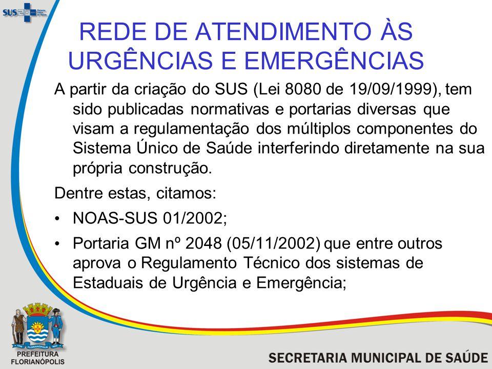 REDE DE ATENDIMENTO ÀS URGÊNCIAS E EMERGÊNCIAS A partir da criação do SUS (Lei 8080 de 19/09/1999), tem sido publicadas normativas e portarias diversa