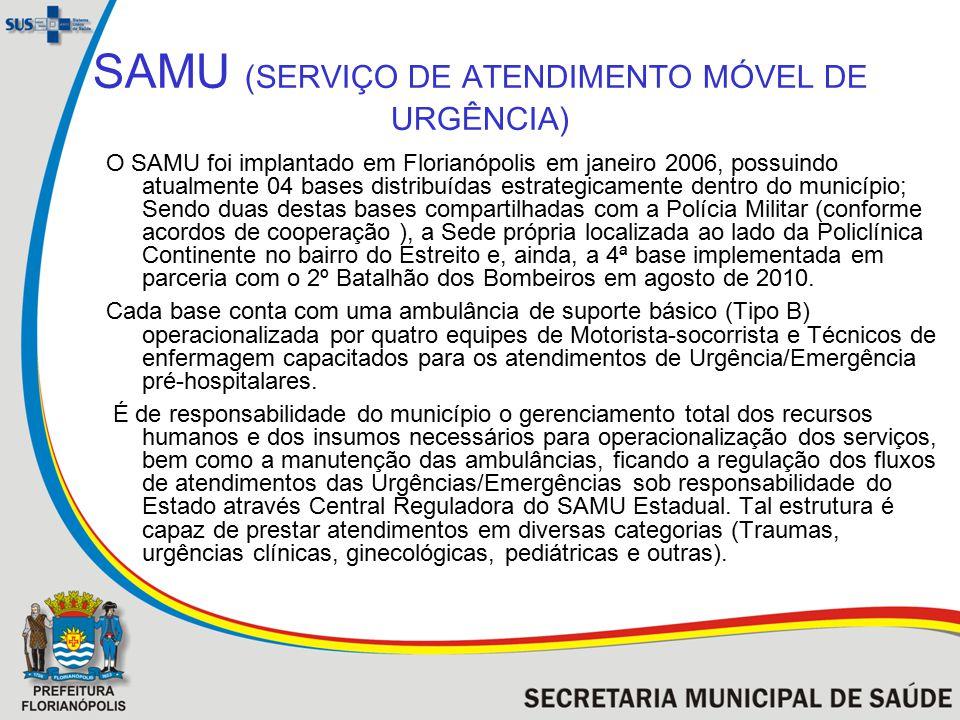SAMU (SERVIÇO DE ATENDIMENTO MÓVEL DE URGÊNCIA) O SAMU foi implantado em Florianópolis em janeiro 2006, possuindo atualmente 04 bases distribuídas est