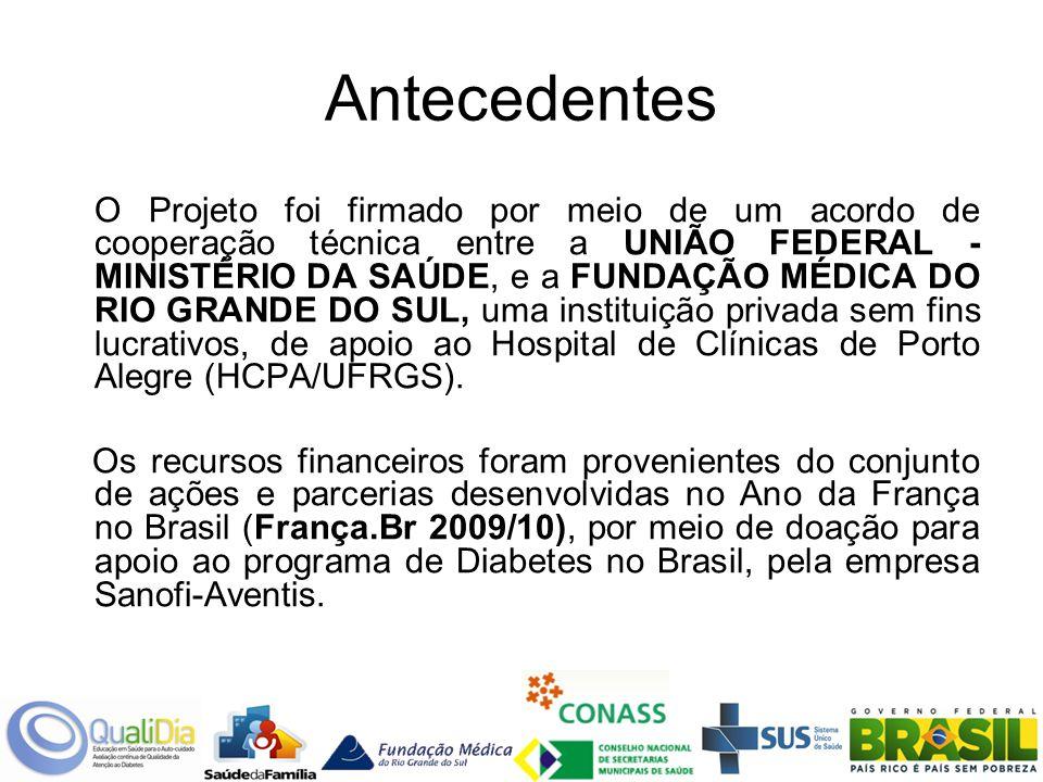 Antecedentes O Projeto foi firmado por meio de um acordo de cooperação técnica entre a UNIÃO FEDERAL - MINISTÉRIO DA SAÚDE, e a FUNDAÇÃO MÉDICA DO RIO GRANDE DO SUL, uma instituição privada sem fins lucrativos, de apoio ao Hospital de Clínicas de Porto Alegre (HCPA/UFRGS).