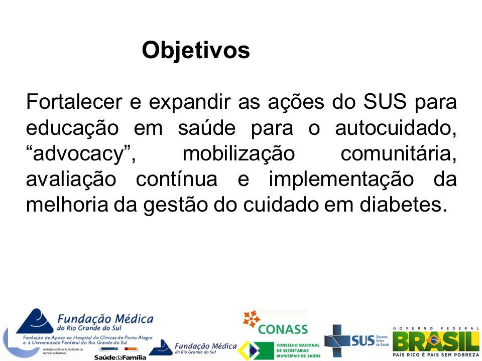 Fortalecer e expandir as ações do SUS para educação em saúde para o autocuidado, advocacy, mobilização comunitária, avaliação contínua e implementação da melhoria da gestão do cuidado em diabetes.