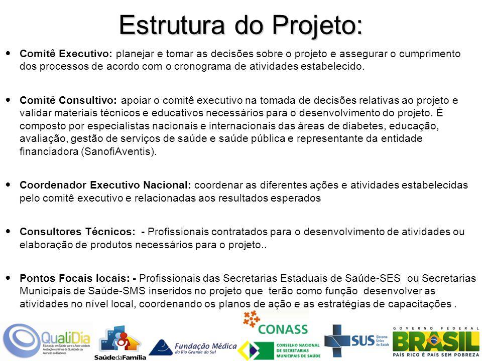 Estrutura do Projeto: Comitê Executivo: planejar e tomar as decisões sobre o projeto e assegurar o cumprimento dos processos de acordo com o cronograma de atividades estabelecido.