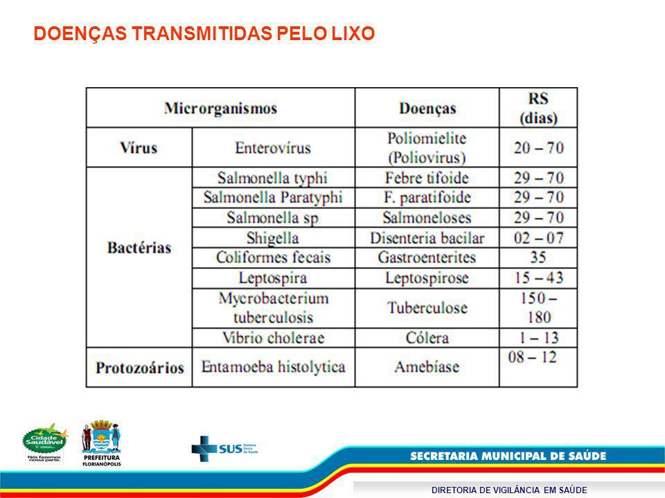 DIRETORIA DE VIGILÂNCIA EM SAÚDE DOENÇAS TRANSMITIDAS PELO LIXO