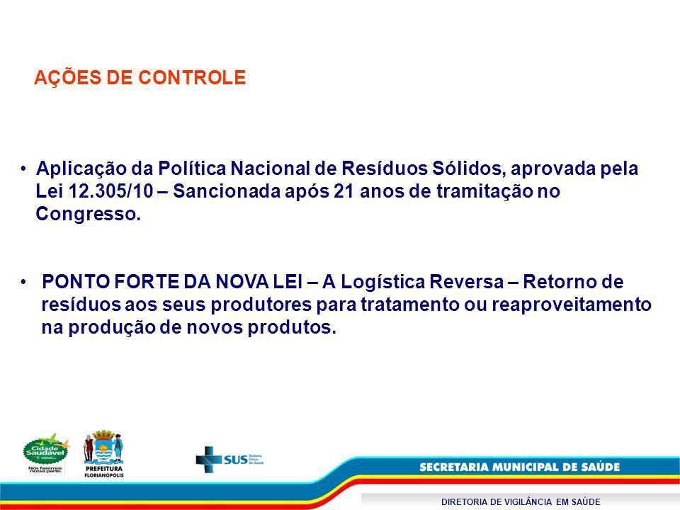 DIRETORIA DE VIGILÂNCIA EM SAÚDE AÇÕES DE CONTROLE Aplicação da Política Nacional de Resíduos Sólidos, aprovada pela Lei 12.305/10 – Sancionada após 2