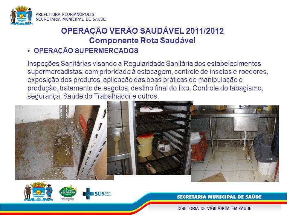 DIRETORIA DE VIGILÂNCIA EM SAÚDE OPERAÇÃO VERÃO SAUDÁVEL 2011/2012 Componente Rota Saudável OPERAÇÃO SUPERMERCADOS Inspeções Sanitárias visando a Regu