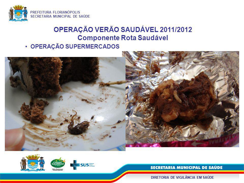 DIRETORIA DE VIGILÂNCIA EM SAÚDE OPERAÇÃO VERÃO SAUDÁVEL 2011/2012 Componente Rota Saudável OPERAÇÃO SUPERMERCADOS PREFEITURA FLORIANÓPOLIS SECRETARIA