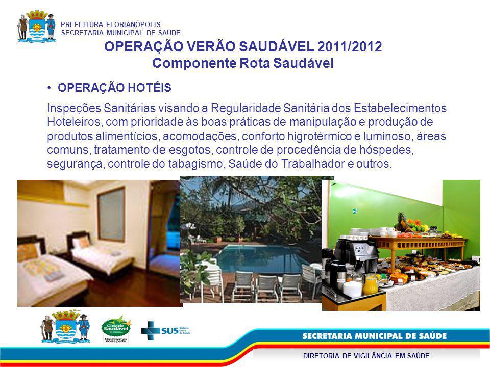DIRETORIA DE VIGILÂNCIA EM SAÚDE OPERAÇÃO VERÃO SAUDÁVEL 2011/2012 Componente Rota Saudável OPERAÇÃO HOTÉIS Inspeções Sanitárias visando a Regularidad