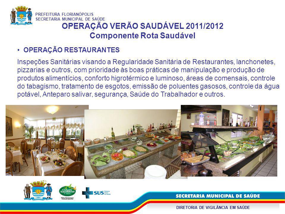 DIRETORIA DE VIGILÂNCIA EM SAÚDE OPERAÇÃO VERÃO SAUDÁVEL 2011/2012 Componente Rota Saudável OPERAÇÃO RESTAURANTES Inspeções Sanitárias visando a Regul