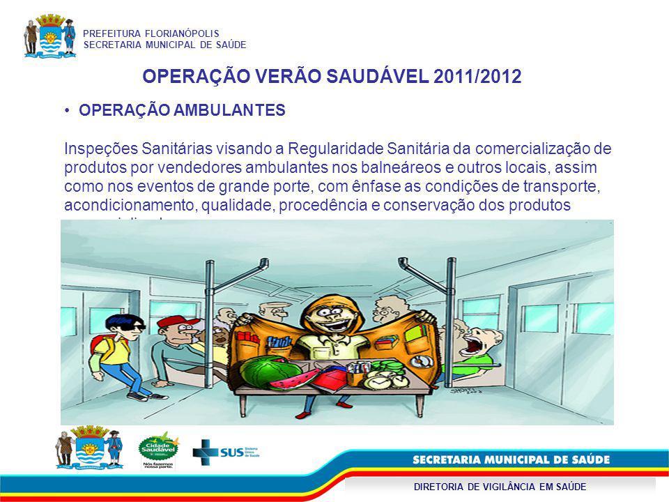 DIRETORIA DE VIGILÂNCIA EM SAÚDE OPERAÇÃO VERÃO SAUDÁVEL 2011/2012 OPERAÇÃO AMBULANTES Inspeções Sanitárias visando a Regularidade Sanitária da comerc