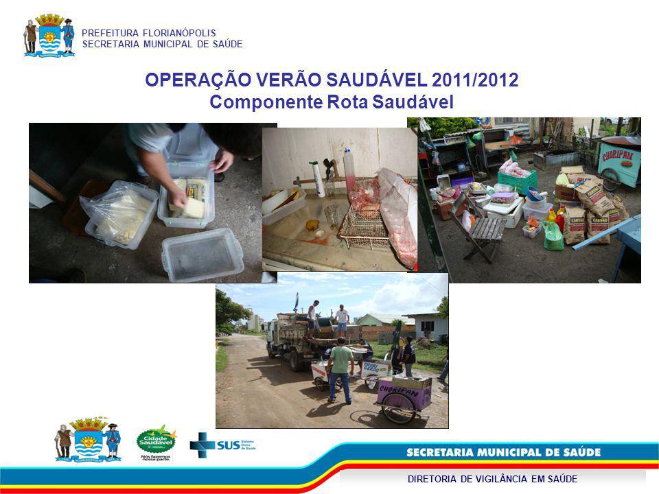 DIRETORIA DE VIGILÂNCIA EM SAÚDE OPERAÇÃO VERÃO SAUDÁVEL 2011/2012 Componente Rota Saudável PREFEITURA FLORIANÓPOLIS SECRETARIA MUNICIPAL DE SAÚDE