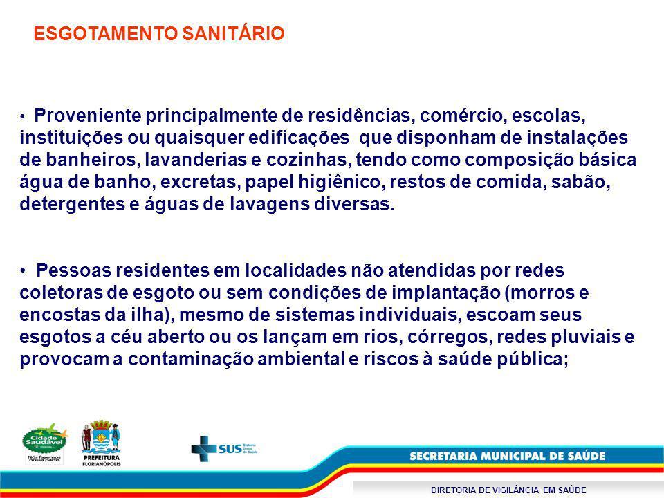 DIRETORIA DE VIGILÂNCIA EM SAÚDE ESGOTAMENTO SANITÁRIO Proveniente principalmente de residências, comércio, escolas, instituições ou quaisquer edifica