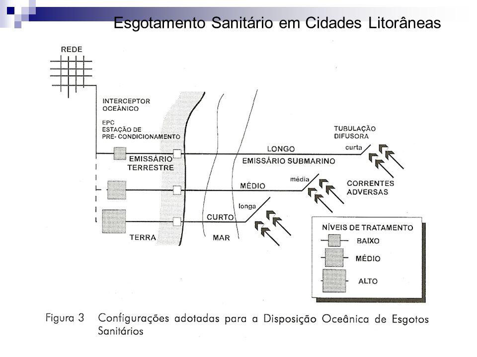 Características do difusor do emissário submarino de Ingleses Profundidade do difusor15 m Número de portas10 Espaçamento entre as portas10 m Diâmetro de portas3 Orientação do difusor90°