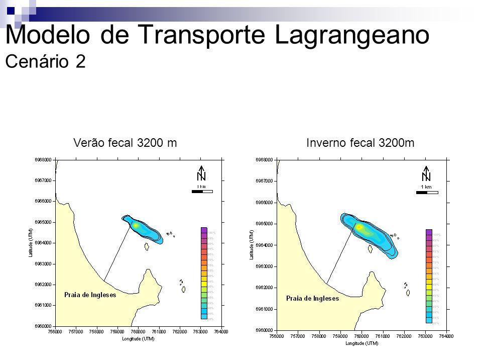 Verão fecal 3200 mInverno fecal 3200m Modelo de Transporte Lagrangeano Cenário 2