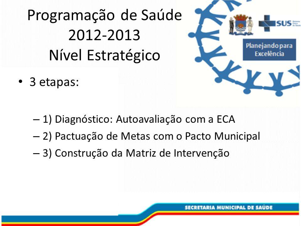 Programação de Saúde 2012-2013 Nível Estratégico 3 etapas: – 1) Diagnóstico: Autoavaliação com a ECA – 2) Pactuação de Metas com o Pacto Municipal – 3) Construção da Matriz de Intervenção