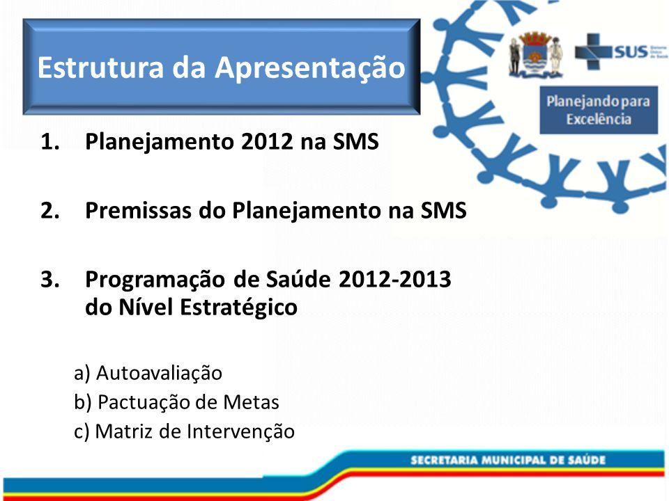1.Planejamento 2012 na SMS 2.Premissas do Planejamento na SMS 3.Programação de Saúde 2012-2013 do Nível Estratégico a) Autoavaliação b) Pactuação de Metas c) Matriz de Intervenção Estrutura da Apresentação