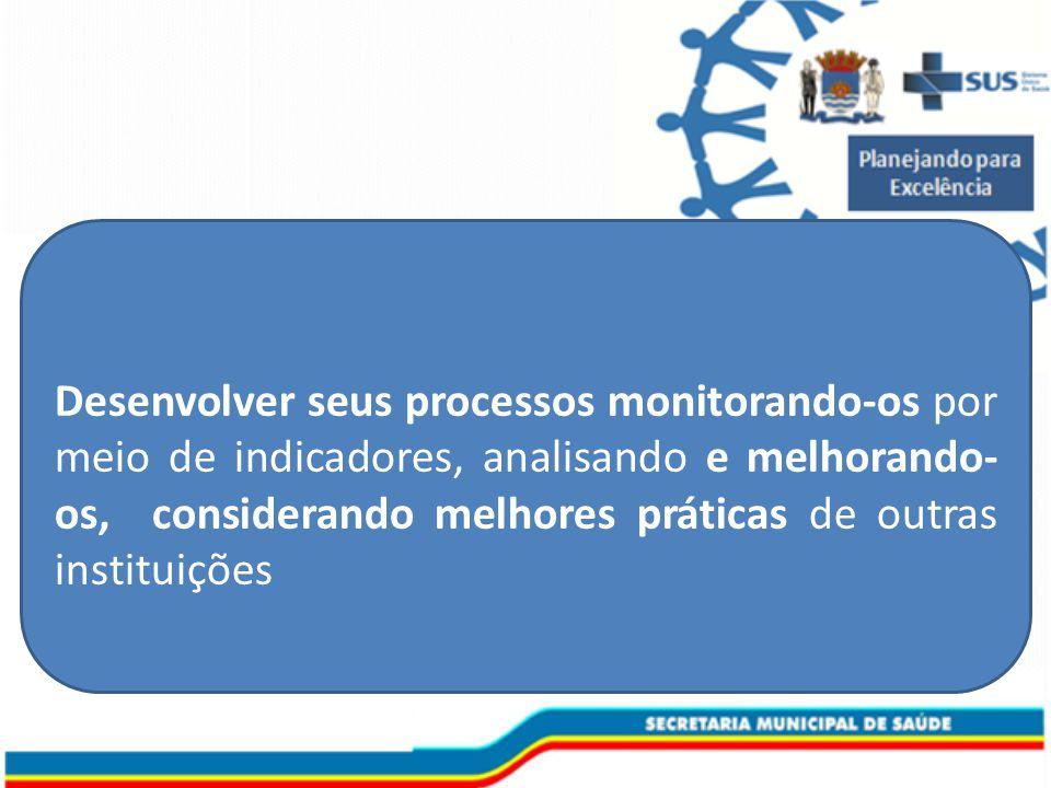 Desenvolver seus processos monitorando-os por meio de indicadores, analisando e melhorando- os, considerando melhores práticas de outras instituições