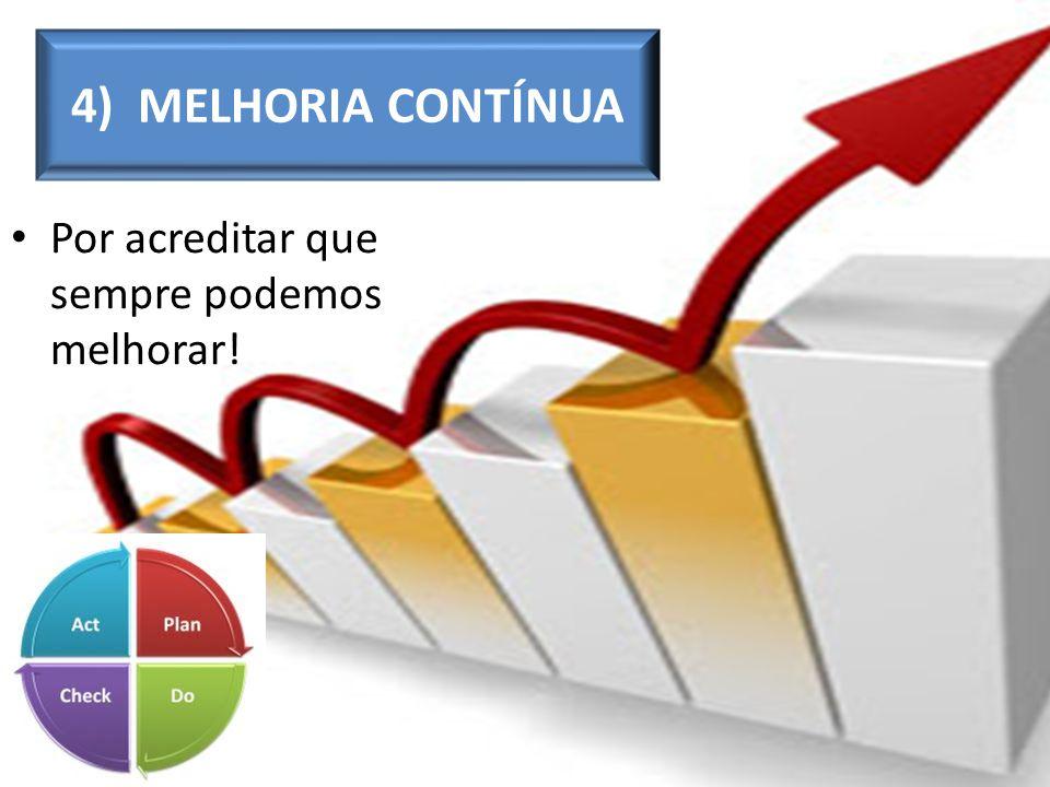 Por acreditar que sempre podemos melhorar! 4) MELHORIA CONTÍNUA