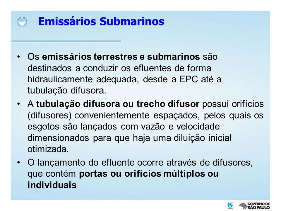 Os emissários terrestres e submarinos são destinados a conduzir os efluentes de forma hidraulicamente adequada, desde a EPC até a tubulação difusora.