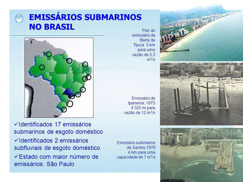 EMISSÁRIOS SUBMARINOS NO BRASIL Identificados 17 emissários submarinos de esgoto doméstico Identificados 2 emissários subfluviais de esgoto doméstico