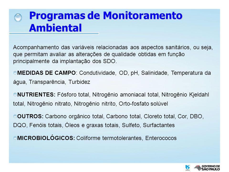Programas de Monitoramento Ambiental Acompanhamento das variáveis relacionadas aos aspectos sanitários, ou seja, que permitam avaliar as alterações de
