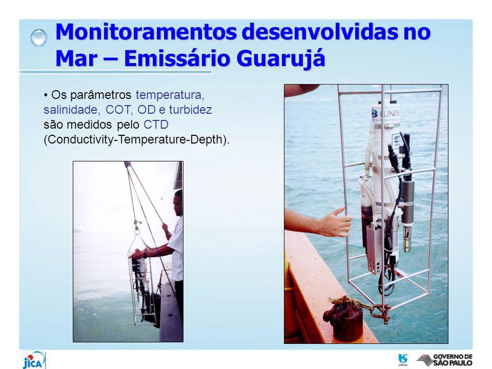 Os parâmetros temperatura, salinidade, COT, OD e turbidez são medidos pelo CTD (Conductivity-Temperature-Depth). Monitoramentos desenvolvidas no Mar –