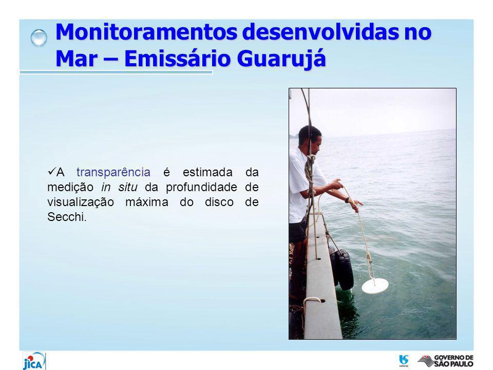 A transparência é estimada da medição in situ da profundidade de visualização máxima do disco de Secchi. Monitoramentos desenvolvidas no Mar – Emissár