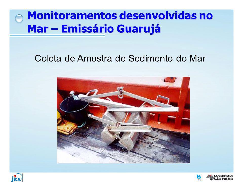 Coleta de Amostra de Sedimento do Mar Monitoramentos desenvolvidas no Mar – Emissário Guarujá