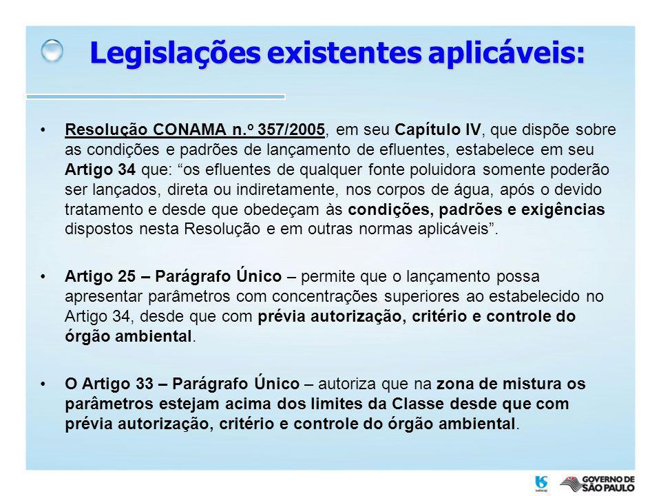 Resolução CONAMA n. o 357/2005, em seu Capítulo IV, que dispõe sobre as condições e padrões de lançamento de efluentes, estabelece em seu Artigo 34 qu