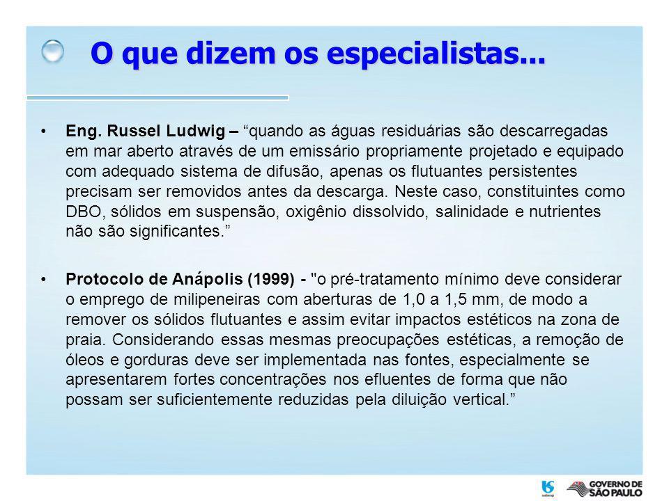O que dizem os especialistas... Eng. Russel Ludwig – quando as águas residuárias são descarregadas em mar aberto através de um emissário propriamente