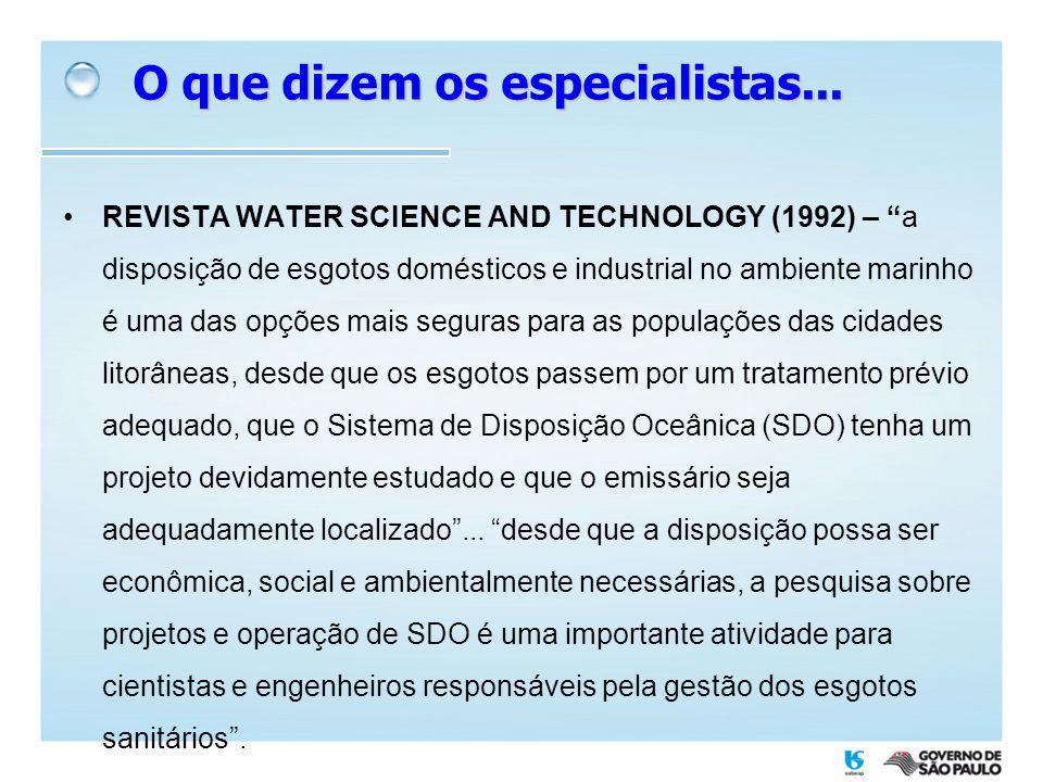 REVISTA WATER SCIENCE AND TECHNOLOGY (1992) – a disposição de esgotos domésticos e industrial no ambiente marinho é uma das opções mais seguras para a