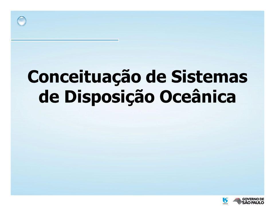 Emissários da SABESP MunicípioLocal Pré- condicionamento Vazão máxima (L/s) Extensão emissário (m) Diâmetro (m) Início de operação Praia Grande ForteG, CL1.0413.3001,001996 TupiG, CL1.0473.3001,001996 CaiçaraG, CA, PEN, CL1.4004.0001,00(*) SantosJosé MeninoG, CA, PEN, CL3.5004.0001,751979 GuarujáEnseadaG, CA, PEN, CL1.4474.5000,901998 São Sebastião Centro (Araçá) G, PEN, CL1501.0610,401991 CigarrasG, CL11,61.0680,161985 Ilhabela Saco da Capela G, CA, PEN, CL302200,251997 ItaquandubaG, CA, PEN, CL1308000,40(*) UbatubaEnseadaG, CL153000,20--- (*) emissários previstos G = gradeamento CA = caixa de areia PEN = peneira CL = cloração