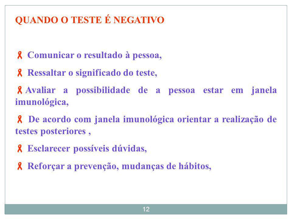 ACONSELHAMENTO INDIVIDUAL PÓS -TESTE. Reafirmar o carater confidencial e o sigilo das informações. Depende do resultado do teste. 11