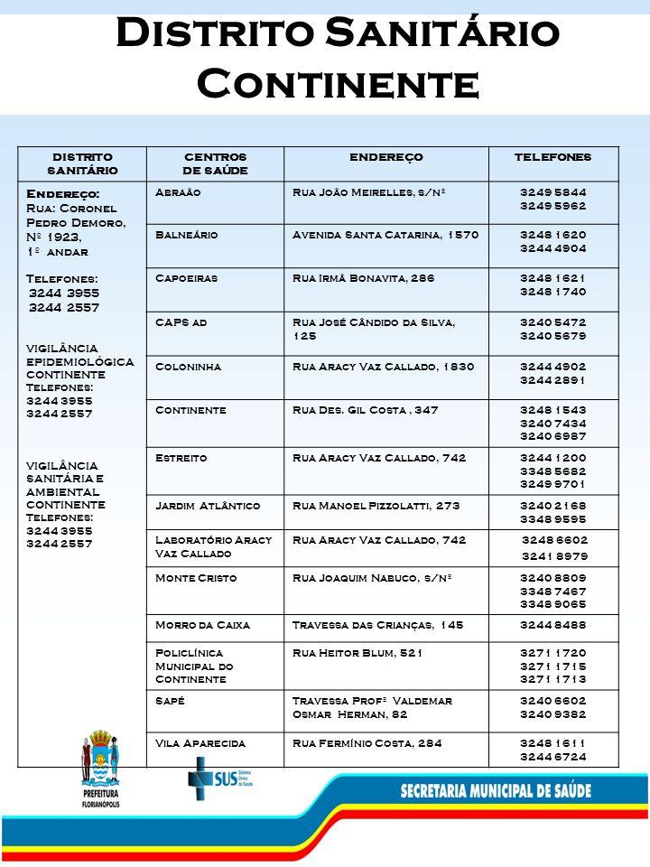 Distrito Sanitário Continente DISTRITO SANITÁRIO CENTROS DE SAÚDE ENDEREÇOTELEFONES Endereço: Rua: Coronel Pedro Demoro, Nº 1923, 1º andar Telefones: