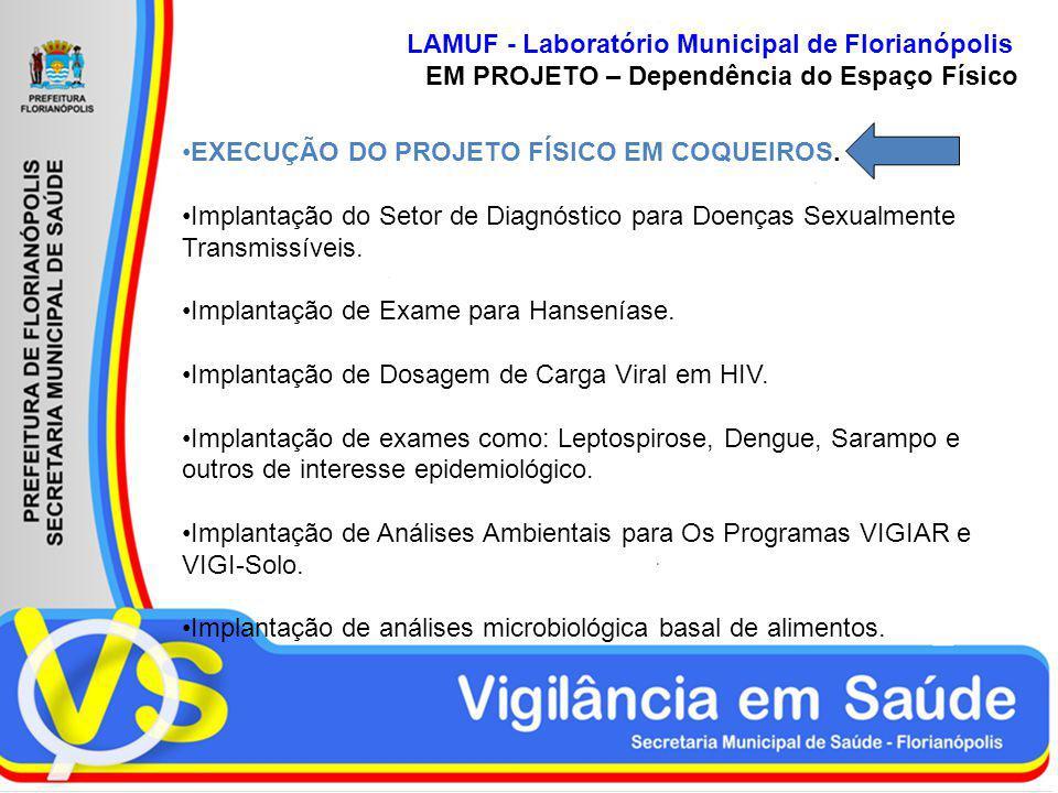 LAMUF - Laboratório Municipal de Florianópolis EM PROJETO – Dependência do Espaço Físico EXECUÇÃO DO PROJETO FÍSICO EM COQUEIROS. Implantação do Setor