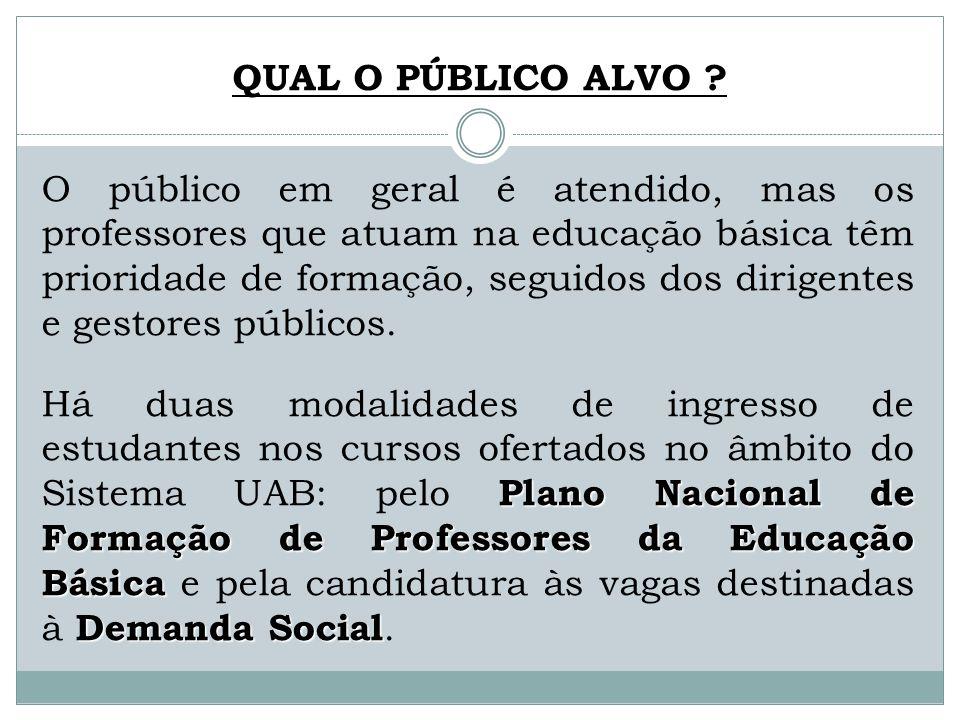 QUAL O PÚBLICO ALVO ? O público em geral é atendido, mas os professores que atuam na educação básica têm prioridade de formação, seguidos dos dirigent
