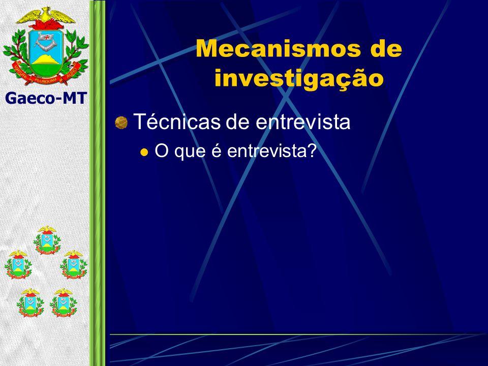 Gaeco-MT Mecanismos de investigação Técnicas de entrevista O que é entrevista?