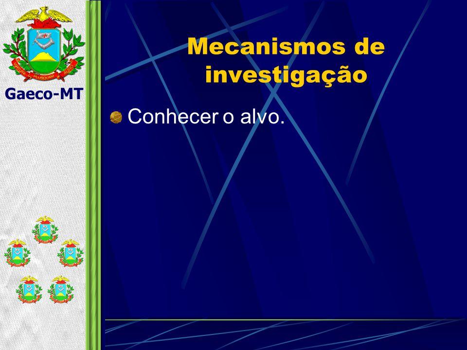 Gaeco-MT Mecanismos de investigação Conhecer o alvo.