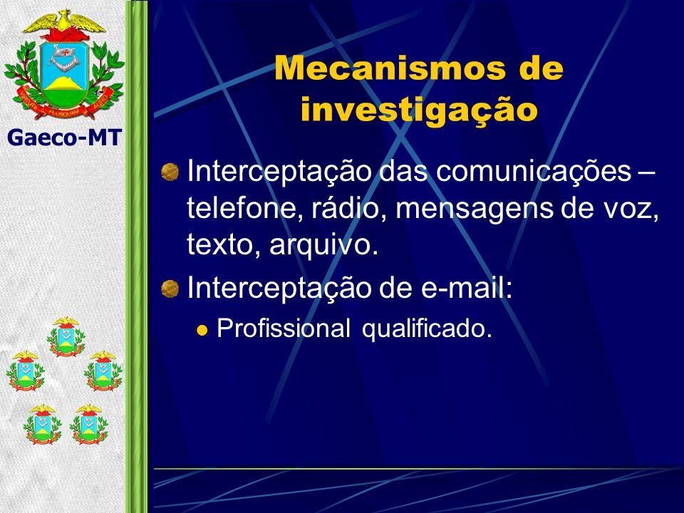 Gaeco-MT Mecanismos de investigação Interceptação das comunicações – telefone, rádio, mensagens de voz, texto, arquivo.