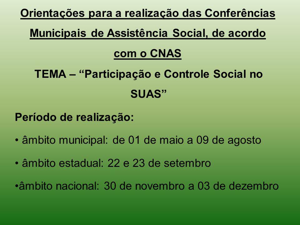 Orientações para a realização das Conferências Municipais de Assistência Social, de acordo com o CNAS TEMA – Participação e Controle Social no SUAS Pe