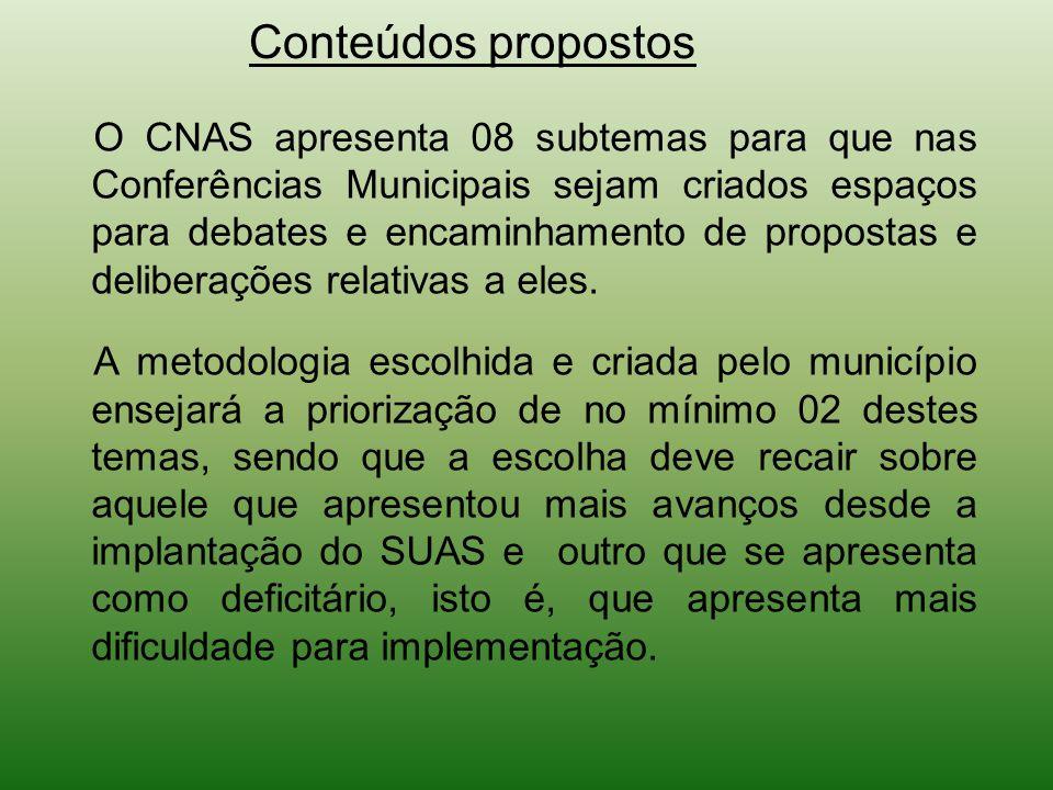 Conteúdos propostos O CNAS apresenta 08 subtemas para que nas Conferências Municipais sejam criados espaços para debates e encaminhamento de propostas