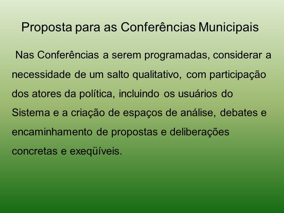 Nas Conferências a serem programadas, considerar a necessidade de um salto qualitativo, com participação dos atores da política, incluindo os usuários