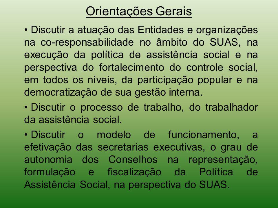 Orientações Gerais Discutir a atuação das Entidades e organizações na co-responsabilidade no âmbito do SUAS, na execução da política de assistência so