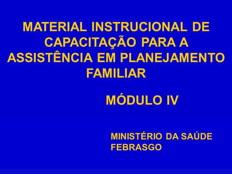 MATERIAL INSTRUCIONAL DE CAPACITAÇÃO PARA A ASSISTÊNCIA EM PLANEJAMENTO FAMILIAR MINISTÉRIO DA SAÚDE FEBRASGO MÓDULO IV